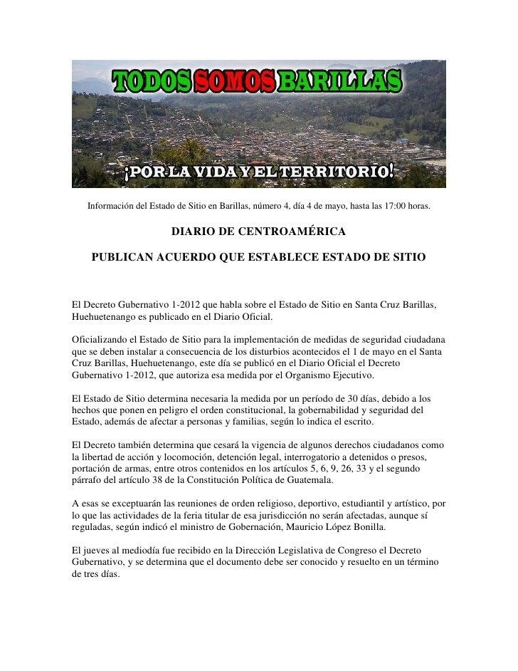 Información del Estado de Sitio en Barillas, número 4, día 4 de mayo, hasta las 17:00 horas.                         DIARI...