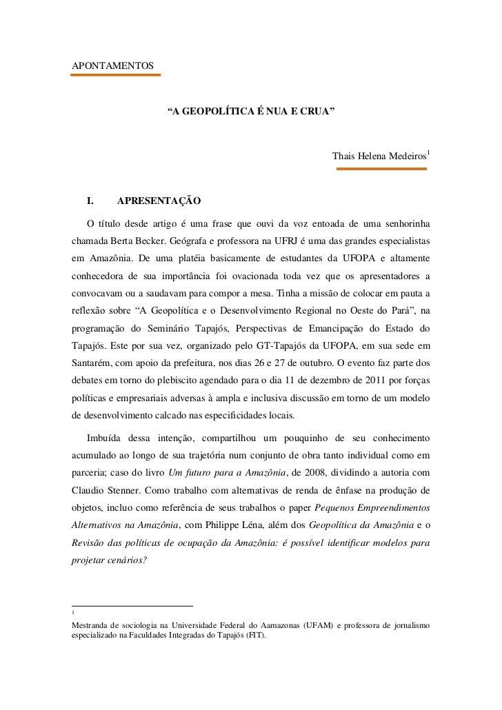 """APONTAMENTOS                         """"A GEOPOLÍTICA É NUA E CRUA""""                                                         ..."""