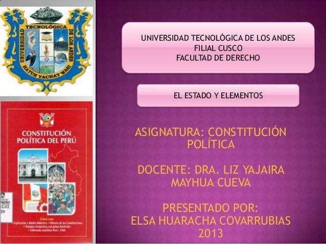ASIGNATURA: CONSTITUCIÓN POLÍTICA DOCENTE: DRA. LIZ YAJAIRA MAYHUA CUEVA PRESENTADO POR: ELSA HUARACHA COVARRUBIAS 2013 UN...