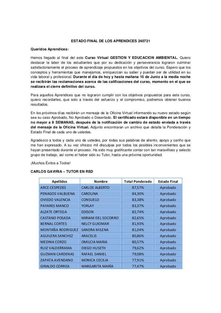 ESTADO FINAL DE LOS APRENDICES 240731Queridos Aprendices:Hemos llegado al final del este Curso Virtual GESTION Y EDUCACION...