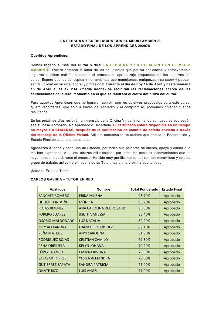 LA PERSONA Y SU RELACION CON EL MEDIO AMBIENTE                       ESTADO FINAL DE LOS APRENDICES 292978Queridos Aprendi...