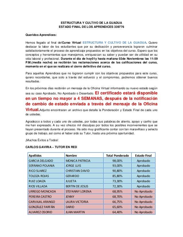 ESTRUCTURA Y CULTIVO DE LA GUADUA                          ESTADO FINAL DE LOS APRENDICES 339776Queridos Aprendices:Hemos ...