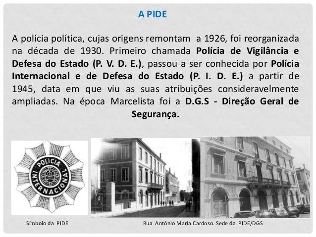 Em 1936 a PVDE criou o presídio do Tarrafal em Cabo Verde, sob o seu controlo direto, como um destino para os presos polít...
