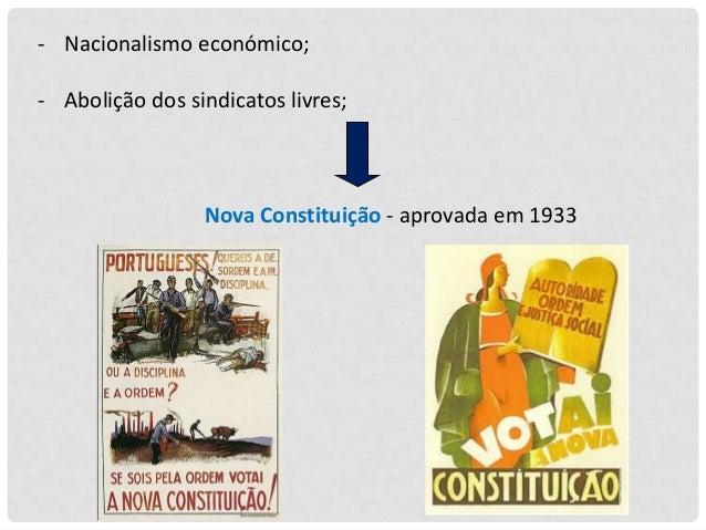 - Nacionalismo económico; - Abolição dos sindicatos livres;  Nova Constituição - aprovada em 1933