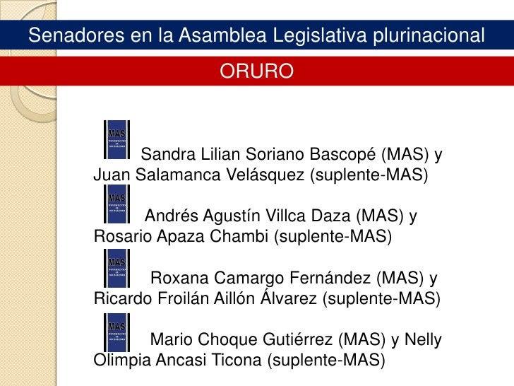 Asamblea Legislativa PLURINACIONAL<br />Senadores<br />
