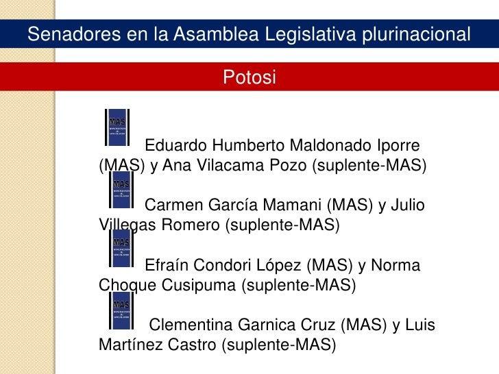 Senadores en la Asamblea Legislativa plurinacional<br />CHUQUISACA<br />René Óscar Martínez Callahuanca(MAS) e Hilda Saave...