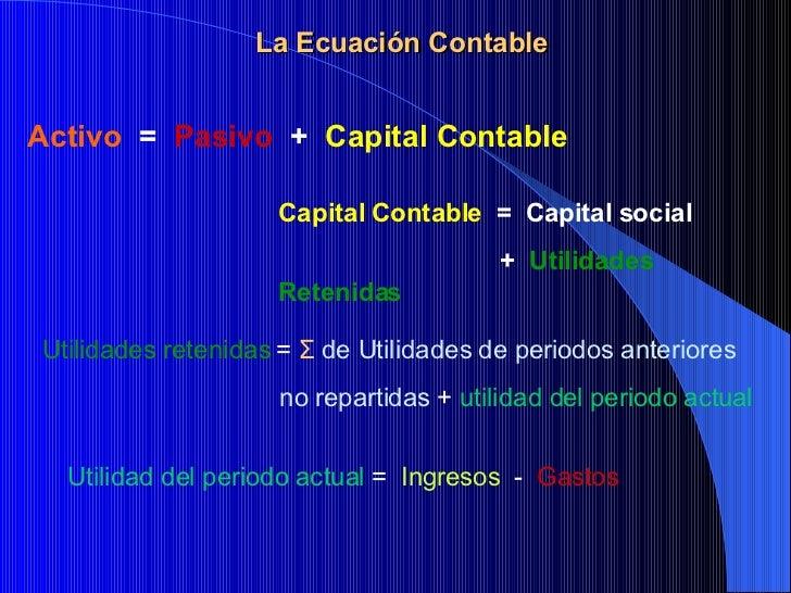 La Ecuación Contable Activo  =  Pasivo   +  Capital Contable Capital Contable   =  Capital social    +  Utilidades Retenid...