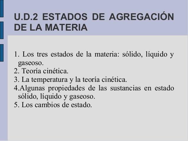 U.D.2 ESTADOS DE AGREGACIÓNDE LA MATERIA1. Los tres estados de la materia: sólido, líquido y gaseoso.2. Teoría cinética.3....