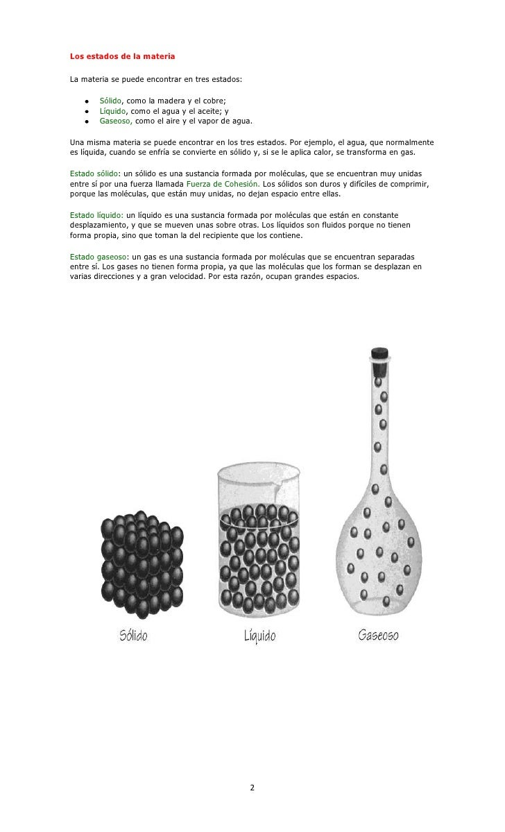 Los estados de la materiaLa materia se puede encontrar en tres estados:        Sólido, como la madera y el cobre;        L...