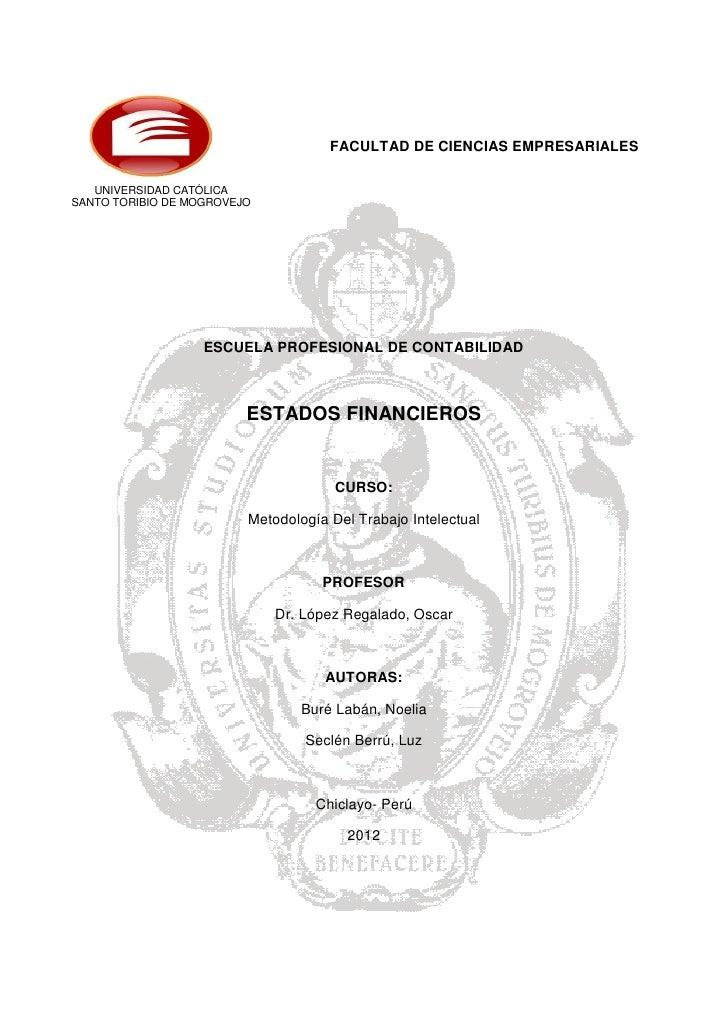 FACULTAD DE CIENCIAS EMPRESARIALES   UNIVERSIDAD CATÓLICASANTO TORIBIO DE MOGROVEJO                   ESCUELA PROFESIONAL ...