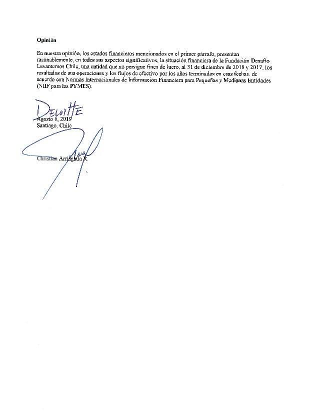 FUNDACION DESAFIO LEVANTEMOS CHILE ESTADOS DE RESULTADOS POR FUNCION POR LOS AÑOS TERMINADOS EL 31 DE DICIEMBRE DE 2018 Y ...