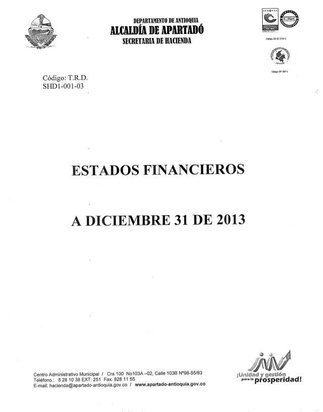 Estados financieros diciembre 31 2013