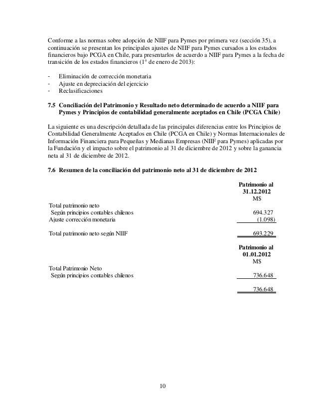 10 Conforme a las normas sobre adopción de NIIF para Pymes por primera vez (sección 35), a continuación se presentan los p...