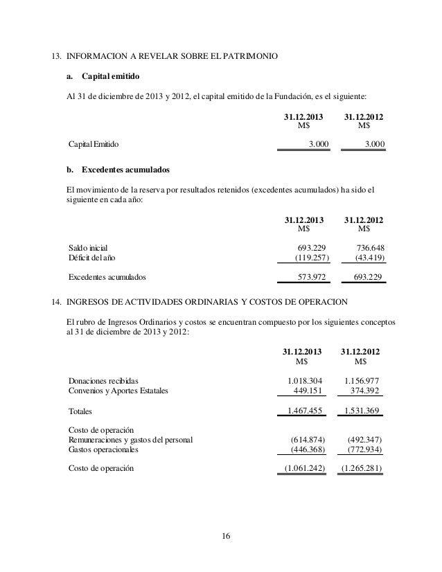 16 13. INFORMACION A REVELAR SOBRE EL PATRIMONIO a. Capital emitido Al 31 de diciembre de 2013 y 2012, el capital emitido ...