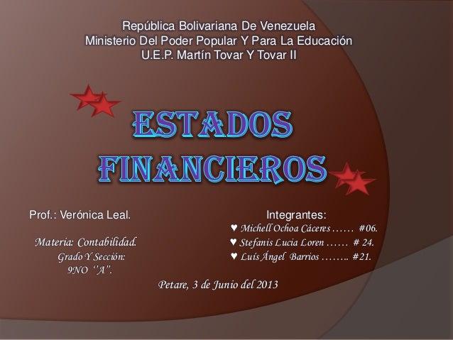 República Bolivariana De VenezuelaMinisterio Del Poder Popular Y Para La EducaciónU.E.P. Martín Tovar Y Tovar IIProf.: Ver...