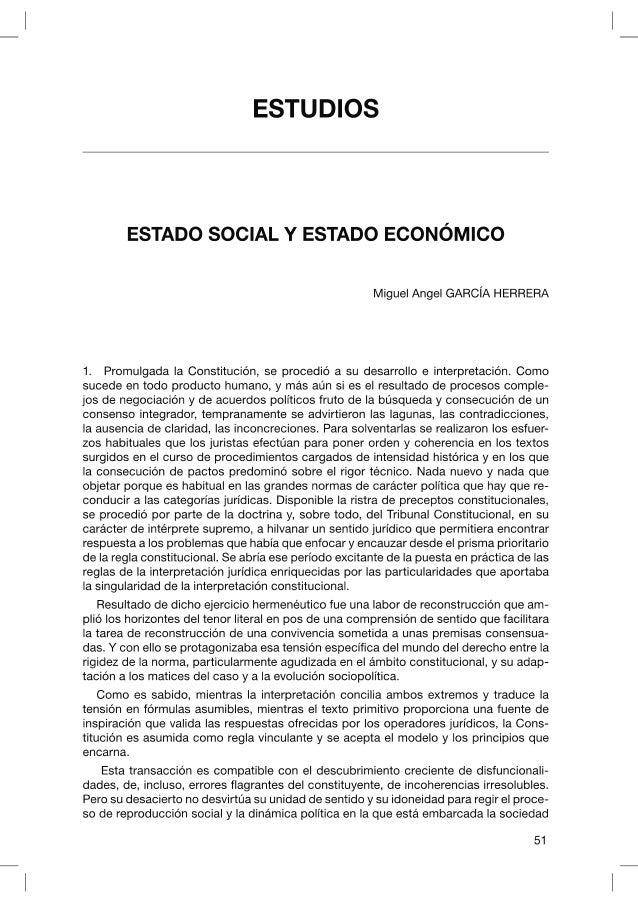 Estado social y estado economico, Miguel Angel Garcia Herrera