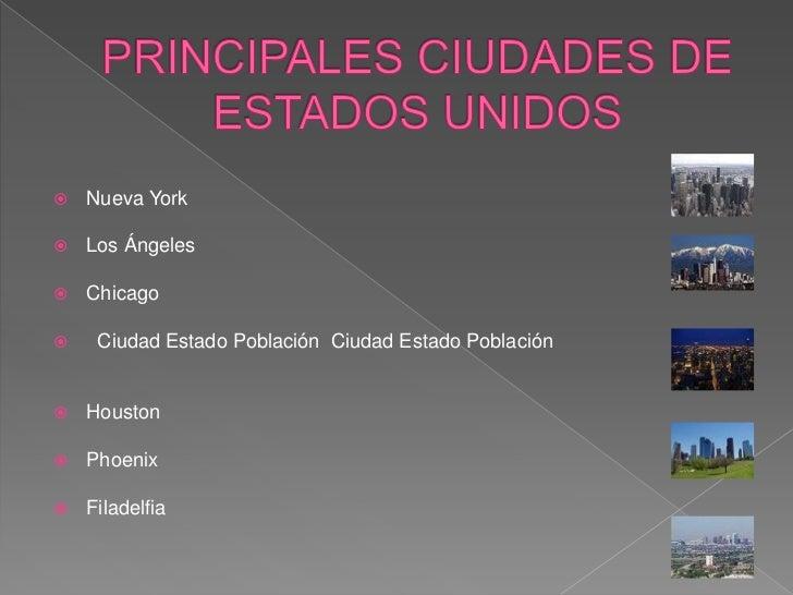 PRINCIPALES CIUDADES DE ESTADOS UNIDOS<br />Nueva York<br />Los Ángeles<br />Chicago<br />  Ciudad Estado Población  Ciuda...