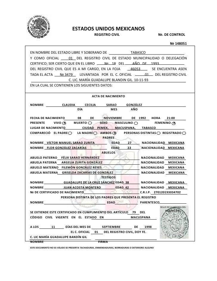 ESTADOS UNIDOS MEXICANOS                                                  REGISTRO CIVIL                                  ...
