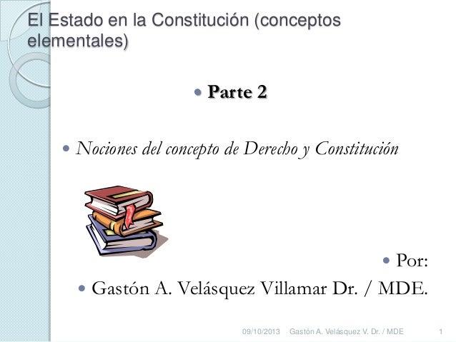 El Estado en la Constitución (conceptos elementales)  Parte 2  Nociones del concepto de Derecho y Constitución  Por:  ...