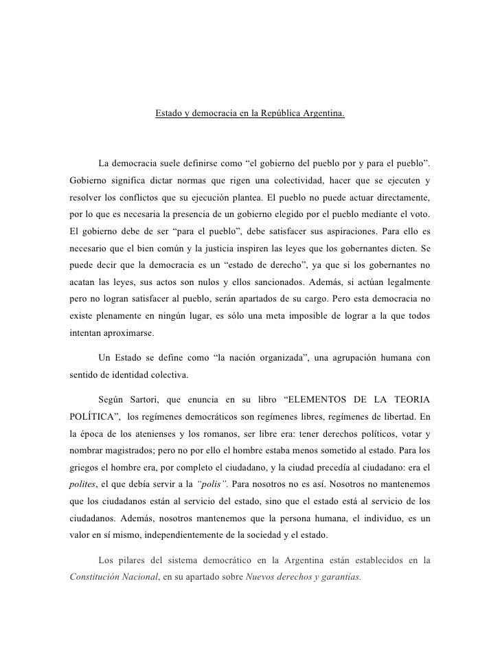 """Estado y democracia en la República Argentina.            La democracia suele definirse como """"el gobierno del pueblo por y..."""