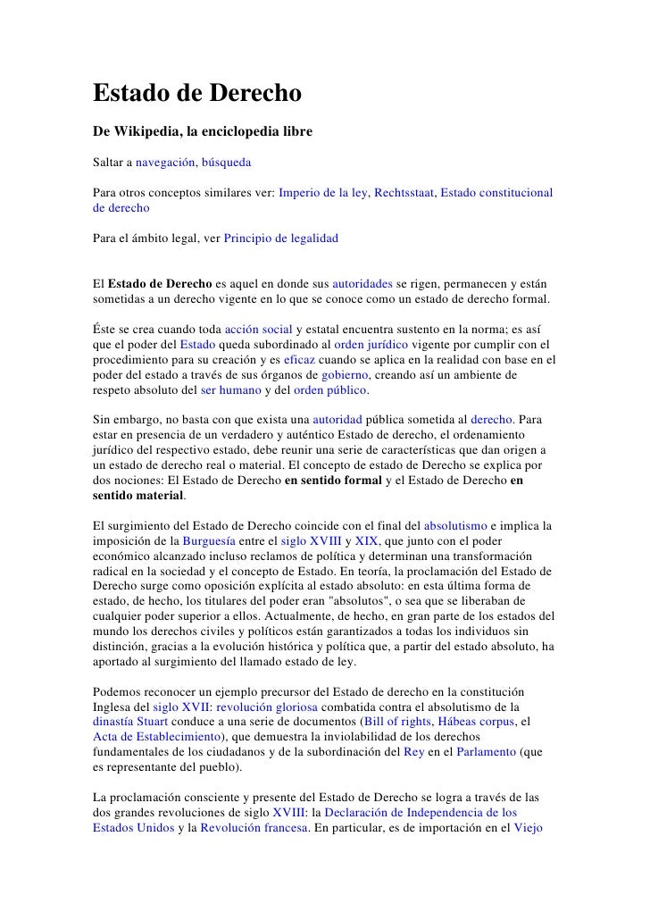 Estado de Derecho<br />De Wikipedia, la enciclopedia libre<br />Saltar a navegación, búsqueda<br />Para otros conceptos si...