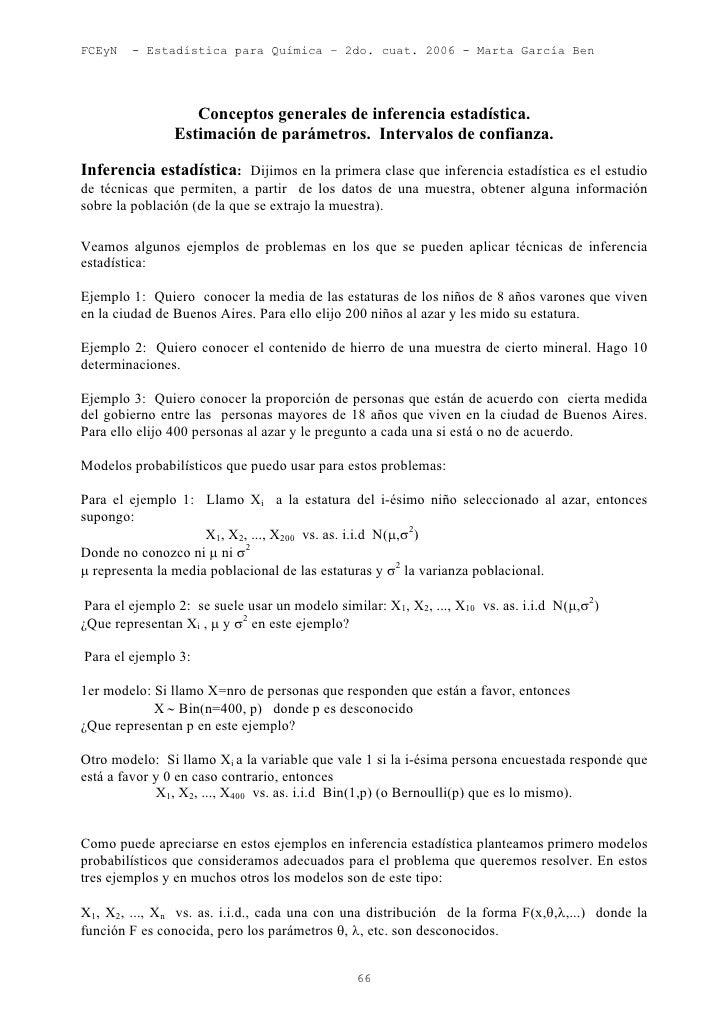 FCEyN    - Estadística para Química – 2do. cuat. 2006 - Marta García Ben                   Conceptos generales de inferenc...