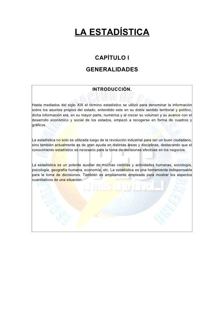 LA ESTADÍSTICA                                      CAPÍTULO I                                GENERALIDADES               ...