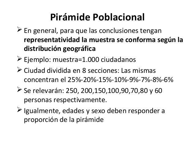 Pirámide Poblacional En general, para que las conclusiones tengan  representatividad la muestra se conforma según la  dis...
