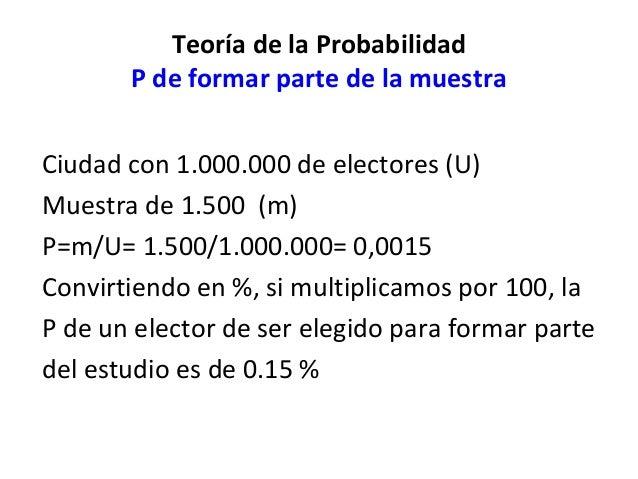 Teoría de la Probabilidad       P de formar parte de la muestraCiudad con 1.000.000 de electores (U)Muestra de 1.500 (m)P=...