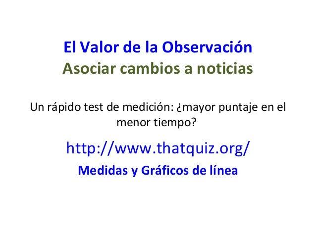 El Valor de la Observación      Asociar cambios a noticiasUn rápido test de medición: ¿mayor puntaje en el                ...