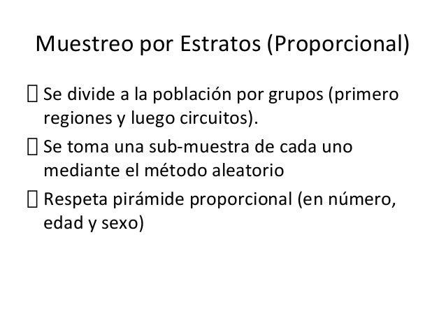 Muestreo por Estratos (Proporcional)Se divide a la población por grupos (primeroregiones y luego circuitos).Se toma una su...