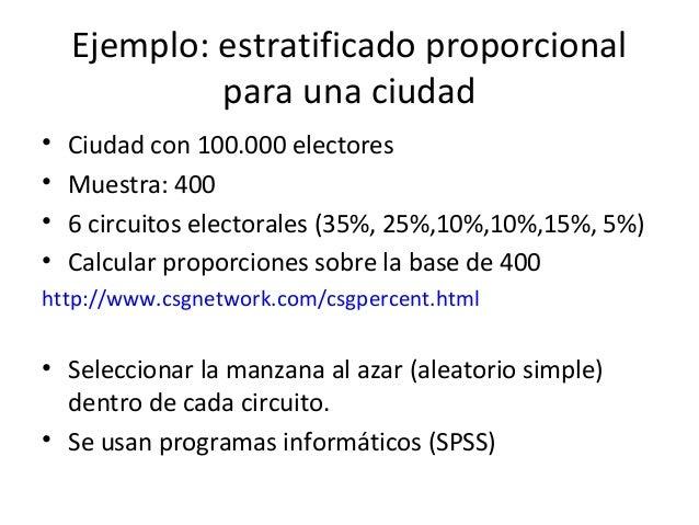 Ejemplo: estratificado proporcional             para una ciudad•   Ciudad con 100.000 electores•   Muestra: 400•   6 circu...