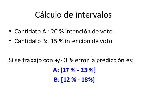 Cálculo de intervalos• Cantidato A : 20 % intención de voto• Cantidato B: 15 % intención de votoSi se trabajó con +/- 3 % ...