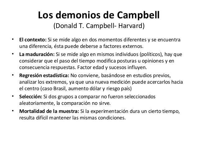 Los demonios de Campbell                  (Donald T. Campbell- Harvard)•   El contexto: Si se mide algo en dos momentos di...