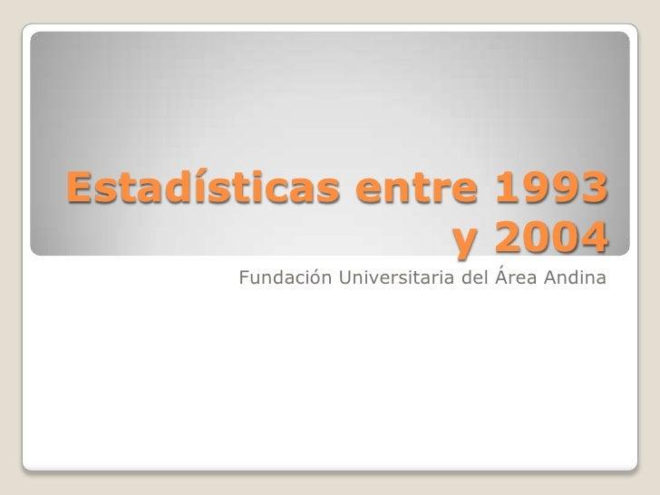 Estadísticas entre 1993 y 2004<br />Fundación Universitaria del Área Andina<br />