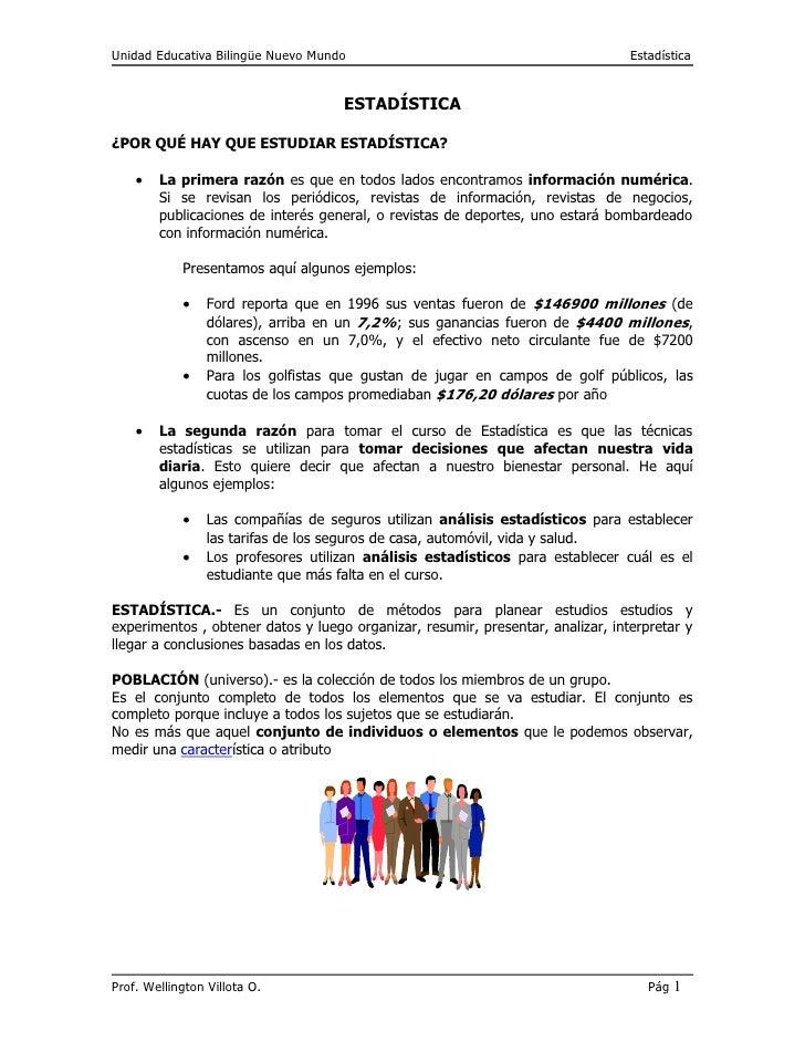 Unidad Educativa Bilingüe Nuevo Mundo                                            Estadística                              ...