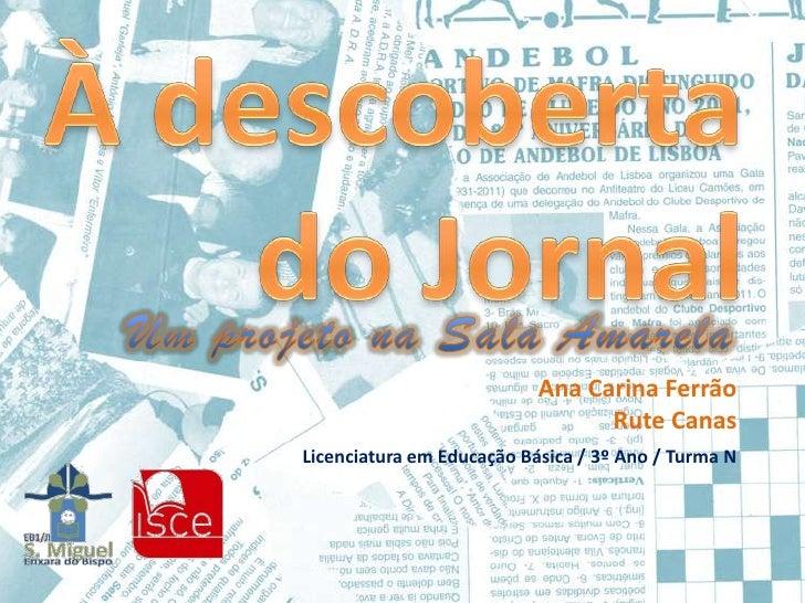Ana Carina Ferrão                                 Rute CanasLicenciatura em Educação Básica / 3º Ano / Turma N
