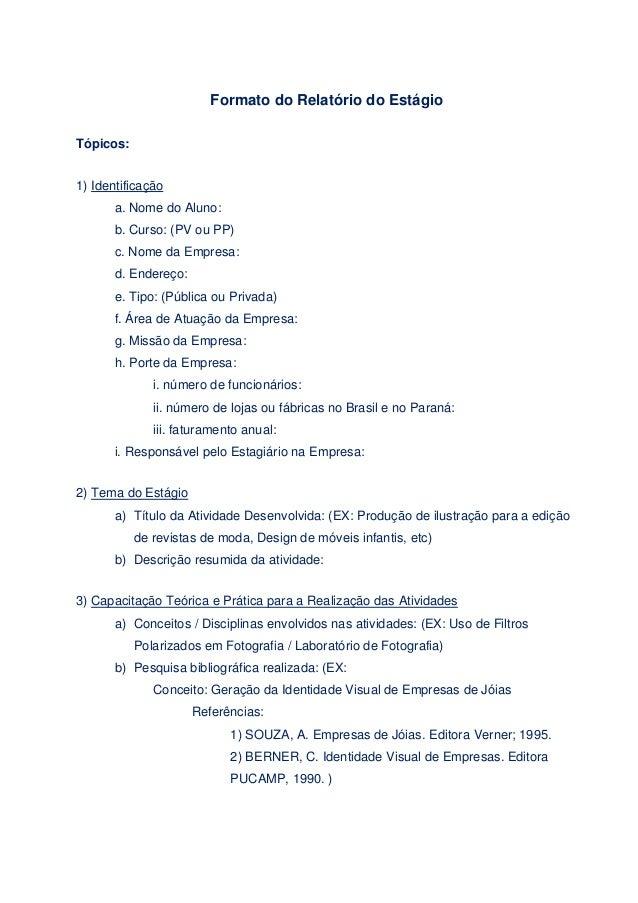 Formato de um relatorio