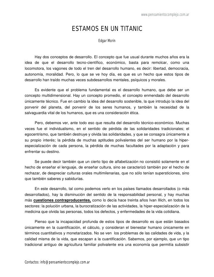 www.pensamientocomplejo.com.ar                              ESTAMOS EN UN TITANIC                                         ...