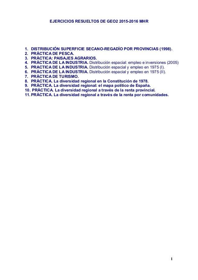EJERCICIOS RESUELTOS DE GEO2 2015-2016 MHR 1. DISTRIBUCIÓN SUPERFICIE SECANO-REGADÍO POR PROVINCIAS (1998). 2. PRÁCTICA DE...