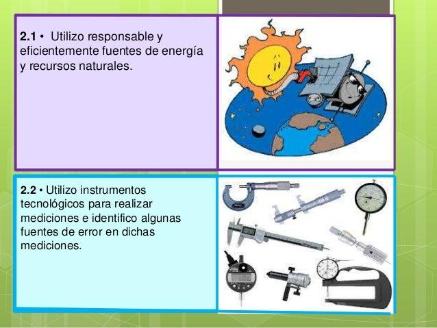 2.1 • Utilizo responsable yeficientemente fuentes de energíay recursos naturales.2.2 • Utilizo instrumentostecnológicos pa...