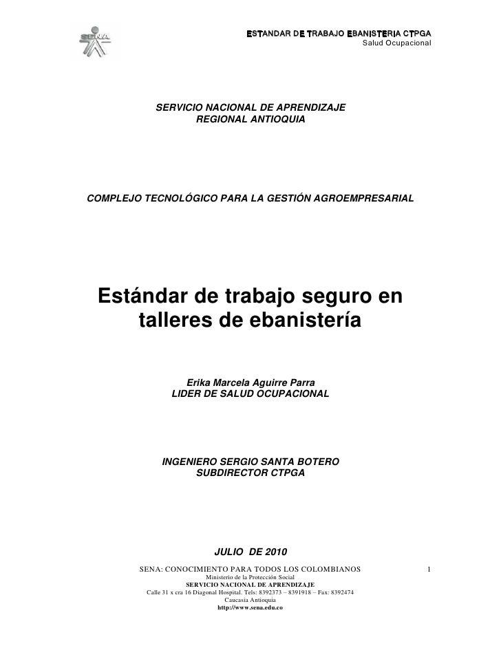 ESTANDAR DE TRABAJO EBANISTERIA CTPGA                                                                     Salud Ocupaciona...
