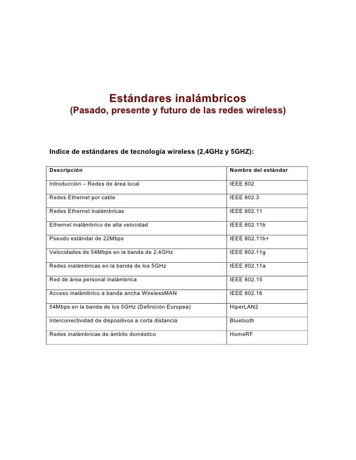 Estándares inalámbricos        (Pasado, presente y futuro de las redes wireless)Indice de estándares de tecnología wireles...