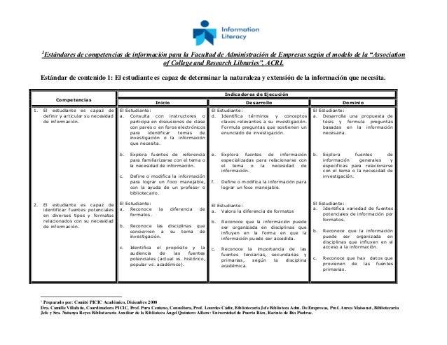 """1 Estándares de competencias de información para la Facultad de Administración de Empresas según el modelo de la """"Associat..."""
