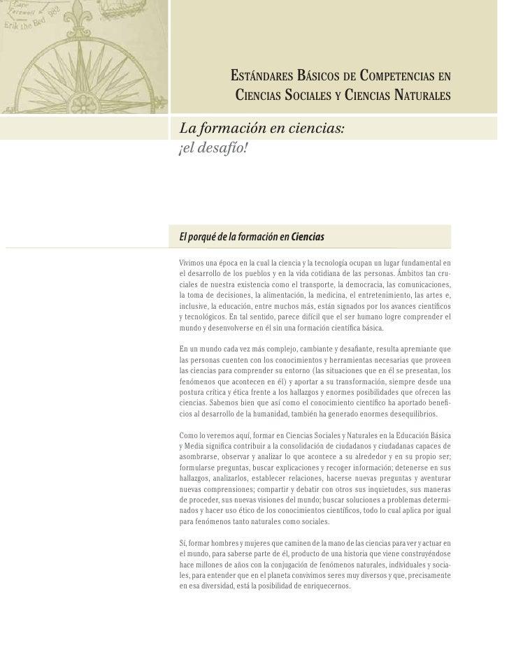 96                   ESTÁNDARES BÁSICOS DE COMPETENCIAS EN CIENCIAS SOCIALES Y NATURALES                                  ...
