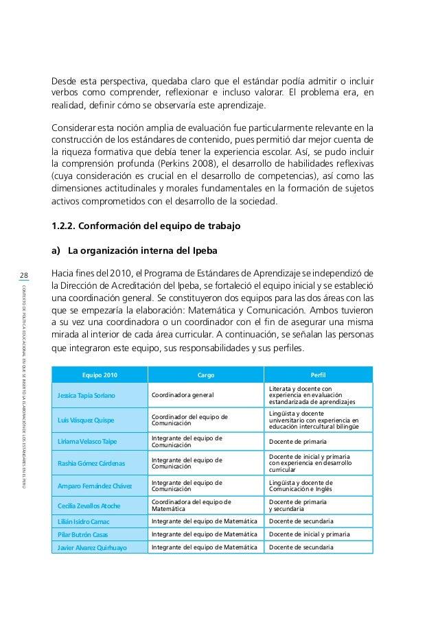 29 CONTEXTODEPOLÍTICAEDUCACIONALENQUESEINSERTÓLAELABORACIÓNDELOSESTÁNDARESENELPERÚ b) Las relaciones interinstitucionales...