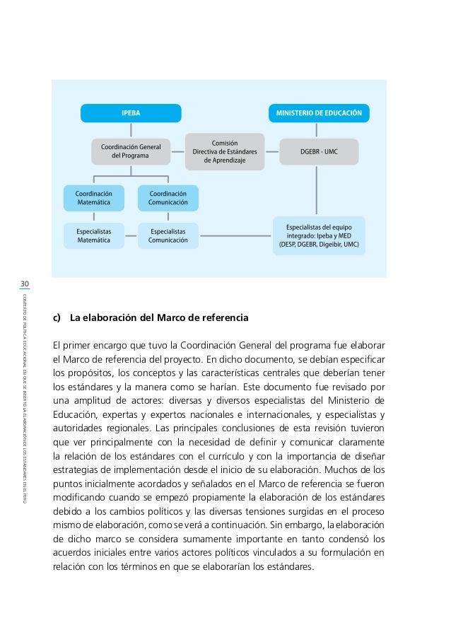 31 CONTEXTODEPOLÍTICAEDUCACIONALENQUESEINSERTÓLAELABORACIÓNDELOSESTÁNDARESENELPERÚ 1.3. Contexto político e institucional ...