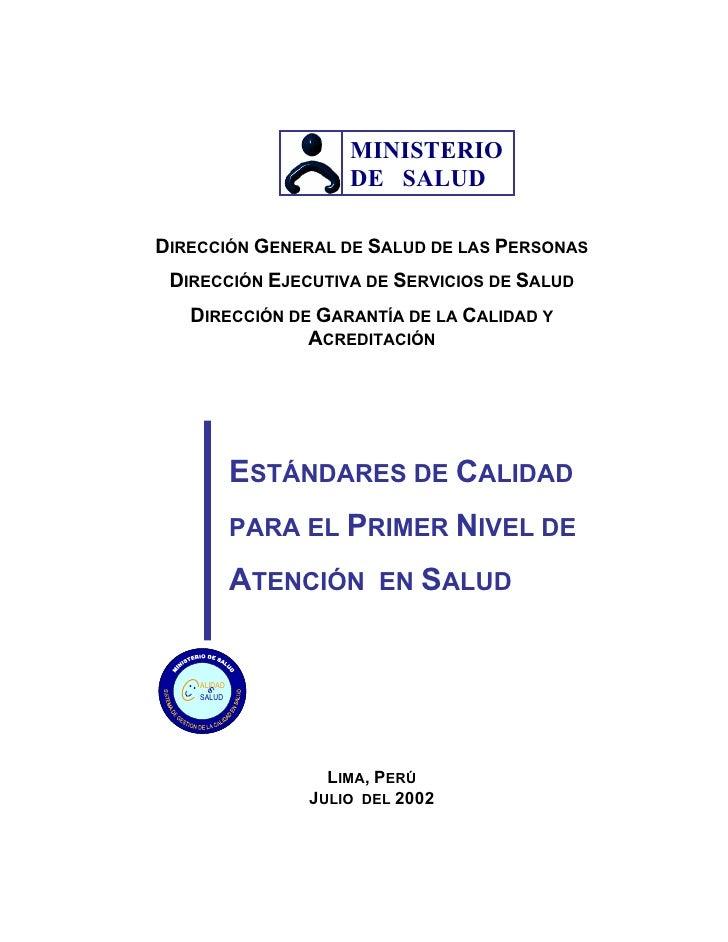 MINISTERIO                       DE SALUD  DIRECCIÓN GENERAL DE SALUD DE LAS PERSONAS  DIRECCIÓN EJECUTIVA DE SERVICIOS DE...