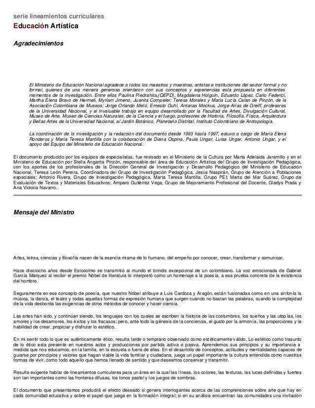 serie lineamientos curriculares Educación Artística Agradecimientos El Ministerio de Educación Nacional agradece a todos l...