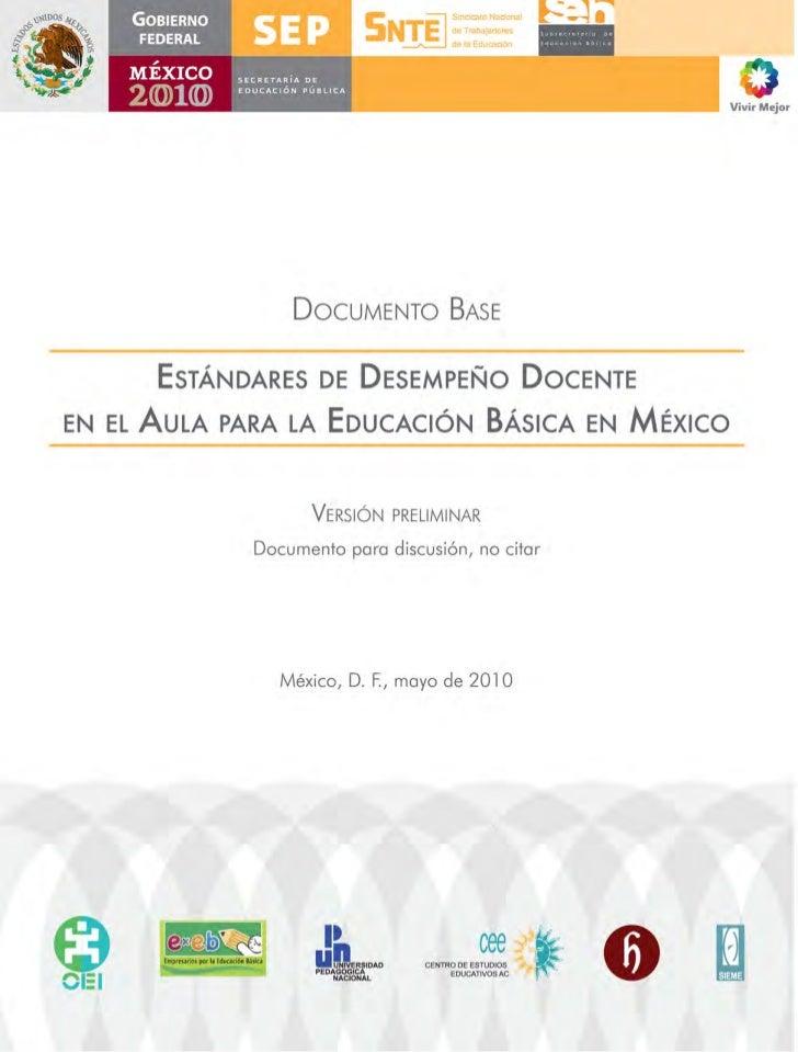 Documento Base         EstándarEs dE dEsEmpEño docEntEEn El   aula para la Educación Básica En méxico                     ...